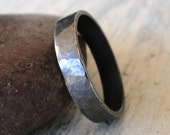 Hammered Black Sterling Silver Ring Band for Men or Women - 5mm Wedding Ring Textured Ring Band - Hammered Wedding Band Made in your size
