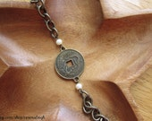 Antique Brass Phoenix and Dragon Coin Good Fortune Pearl Bracelet