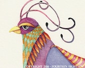 watercolor print fantasy bird,Fringed Bib Elegance -