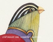 watercolor bird print. The Queen Bird -- print of original watercolor painting
