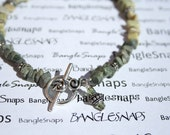 Green stone ANKLET, Tibetan Silver Toggle