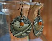 BangleSnaps Bird Medallion Coin Dangle Earrings