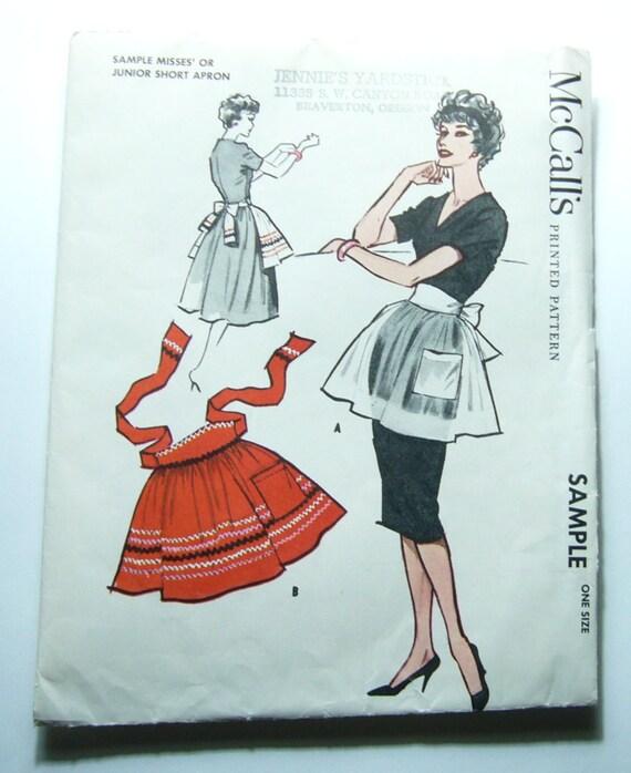1950s Uncut Apron Pattern - Vintage 1958 McCall's Uncut Apron Pattern