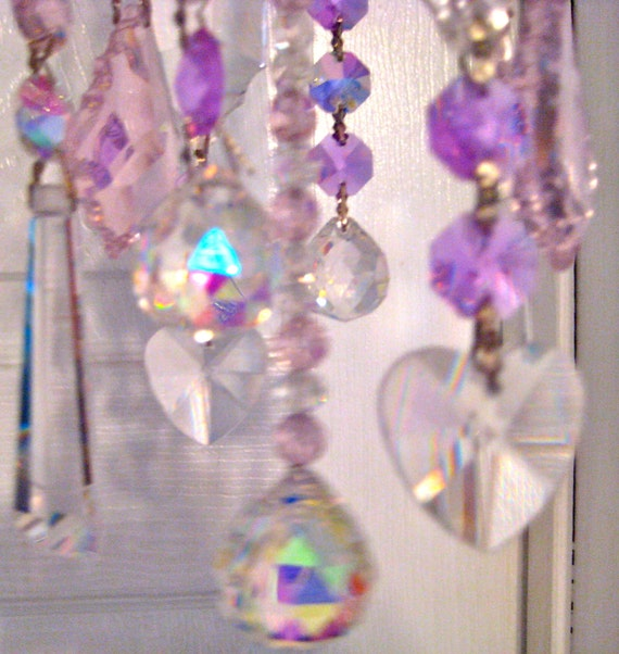 Crystal Prism Windchime - Indoor or Outdoor - Pretty in Pink Pastels