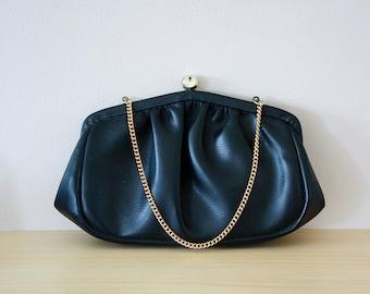 vintage 1950's black purse | clutch