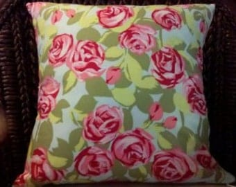 """Pillow Cover Amy Butler Tumble Rose  18x18"""" Cushion Pink, green, blue"""