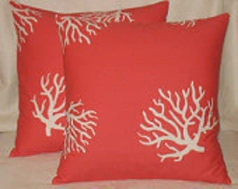 Pillow cover in coral, coral design 16x16, 18x18, 20x20, 24x24, 12x16, 12x24