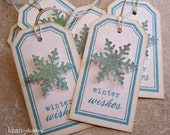 Handmade Holiday Gift Tag - Winter Wishes in Aqua - Set of 6
