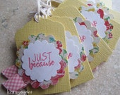 """Handmade """"Just Because"""" Gift Tag in Yellow with with Pink and White - Set of 6"""