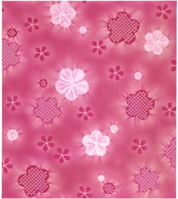 LAST YARD - Kona Bay Asian fabric - Nobu collection - cherry blossoms with shibori on pink