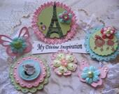 J'habite a Paris Scrapbook Embellishments Butterflies and Flowers