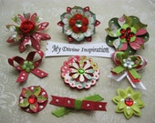 Red Green and White Scrapbook Paper Embellishments and Paper Flowers