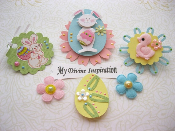 Easter Bunny and Eggs Spring Scrapbook Embellishments and  Paper Flowers