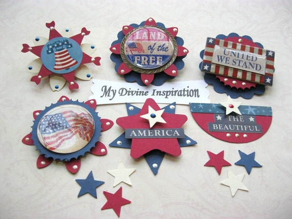Americana Patriotic Paper Embellishments Tags and Stars for Scrapbooks Cards Mini Albums and Papercrafting