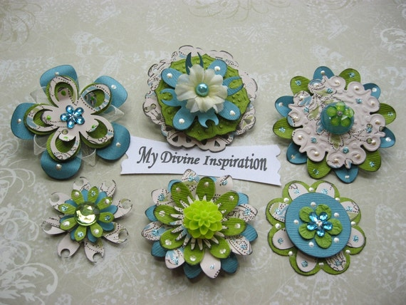 Creamy Collection Teal and  Green Paper Embellishments and Paper Flowers for Scrapbooks Cards Mini Albums and Papercrafts