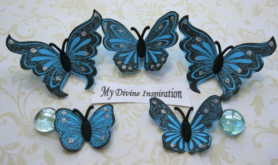 On Sale Turquoise Spring Butterflies for Scrapbooking Cards Mini Albums Paper Crafting
