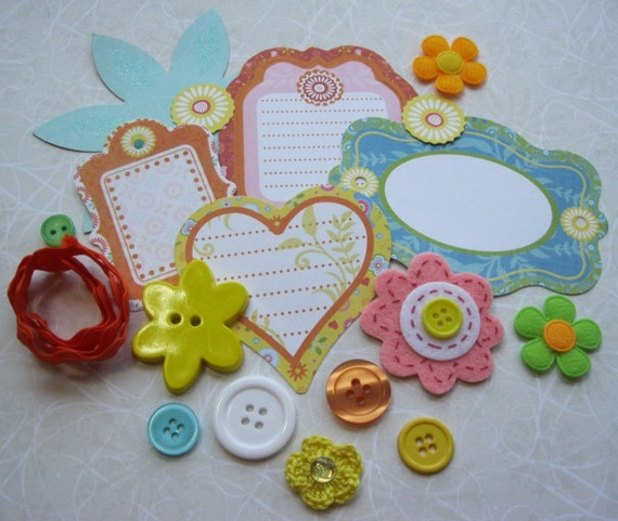 Scrapbooking Kit Bright Colors Embellishment Kit  for Scrapbooking Cards Mini Albums and Papercrafts