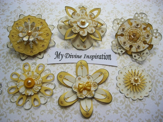 Creamy Collection Yellow Paper Embellishments and Paper Flowers for Scrapbooks Cards Mini Albums and Papercrafts