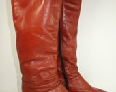 Vintage Burnt Sienna Leather Low Heel Boots Size 7 1/2