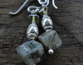 Tourmalinated Quartz & Czech Glass Earrings