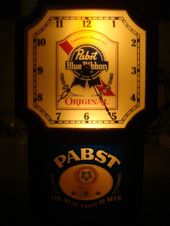 Vintage Pabst Blue Ribbon Lighted Beer Sign Clock W Pendulum