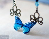 Aqua Blue Butterfly Bronze Necklace - Vintage Style Nature lover gardener gift