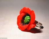 Red Poppy Ring nature inspired jewelry - Nature lover gardener gift