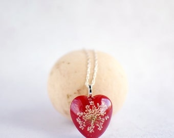 Red Heart Necklace - real flower jewelry, White Queen Anne's Lace Flower, romantic jewelry, gift for a woman, gift under 35, valentines gift