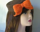 Jackie O. Fascinator Pillbox Hat Crochet Pattern PDF 097