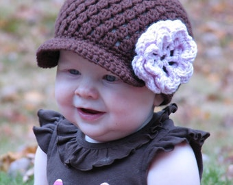 Crochet Pattern Brown Cluster Beanie Pink Flower 4 sizes included PDF 043 Permission to Sell Finished Hats