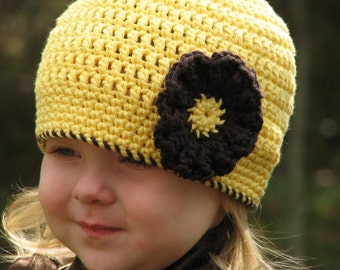 Easy Beanie with Trim and Flower Crochet Pattern 4 sizes included PDF 039