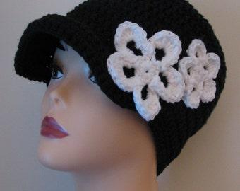 Hope Beanie with Visor and Flowers Ladies Crochet Pattern PDF 071