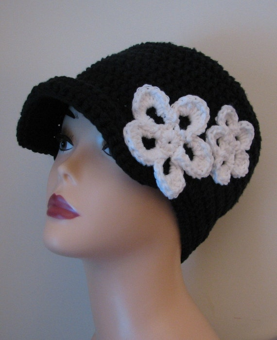 Hope Beanie with Visor and Flowers Ladies Crochet Pattern PDF 071