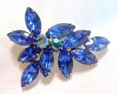 Cobalt Blue Juliana Style Rhinestone Brooch