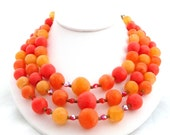 Vintage Mad Men Necklace 1960s Orange Autumn Persimmon Bead Red Aurora BorealisTriple Strand