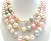 Vintage Mad Men Necklace  1960s 3 Strands Pink Gray Faux Pearls Frosted Faceted Beads