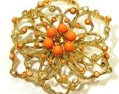 Vintage Flower Brooch Coral Rhinestones Gold Open Mesh