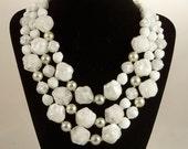 Vintage 1960s Necklace Mad Men Multi Strand White Ice