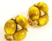Vintage 1960s Glass Earrings Faux Tiger Eye Clip Ons
