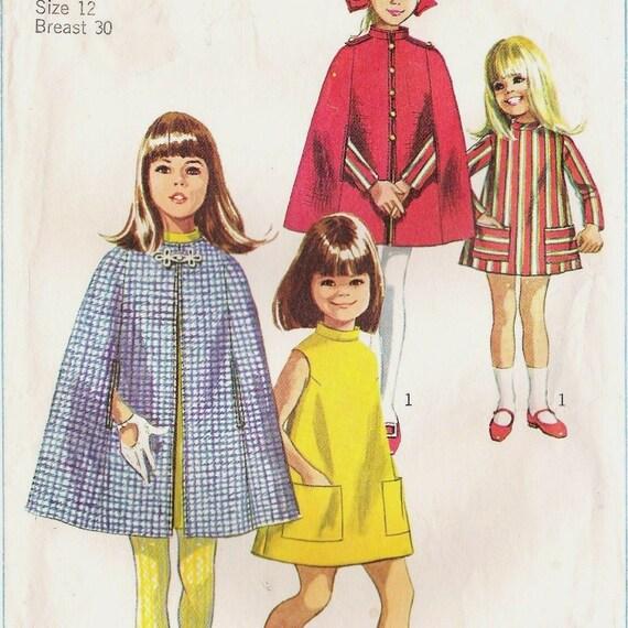 Vintage Cape Dress Pattern 1960s Girls Simplicity 7520  30 inch Bust
