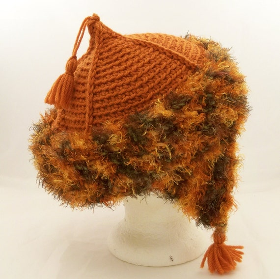 Mongolian Hat Ear Flaps Tassels Pumpkin Wool Size Large Adult