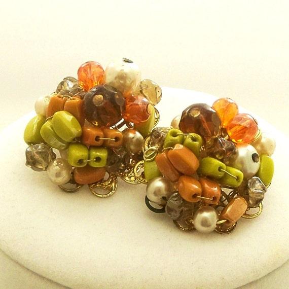Vintage 60s Earrings Mad Men Beads Avocado Green Orange Clip Ons