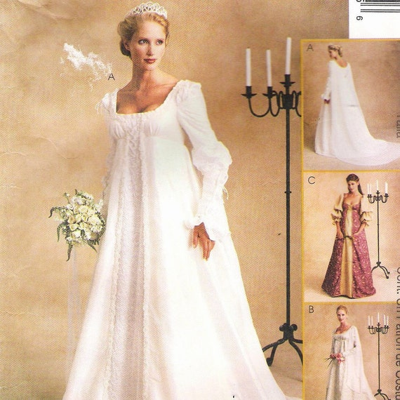 Renaissance Bridal Gown Sewing Pattern Princess Dress: Vintage Wedding Dress Pattern Medieval Princess Goth Gown