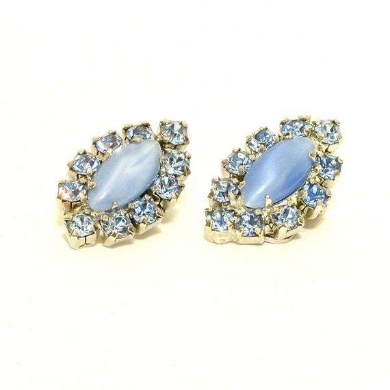 Vintage 1960s Rhinestone Earrings Ice Blue Clip Ons