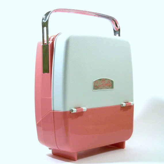 Vintage 1960s Travel Electric Curlers Rollers Kit Pink Cinderella by Rayette