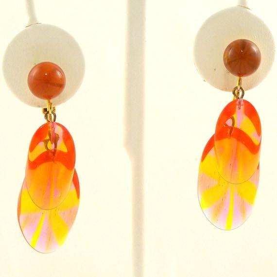 Vintage 1960s Earrings Mod Translucent Orange Starburst Clip Ons