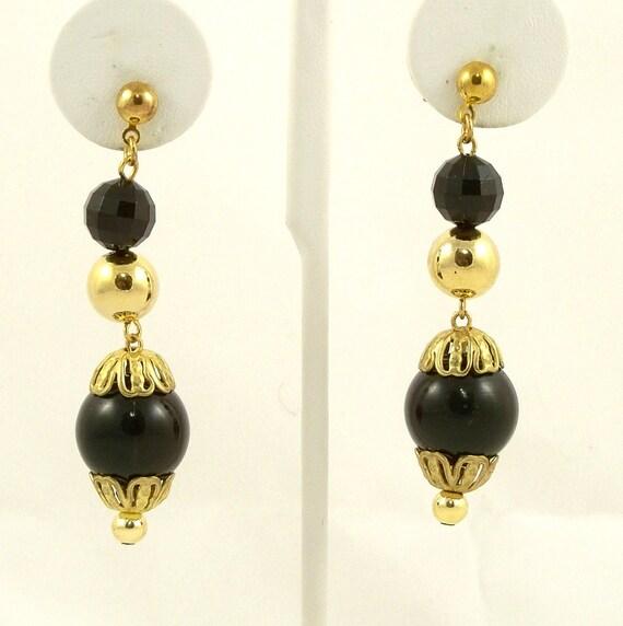 Vintage 1960s Earrings  Drop Dangle Black Gold Pierced