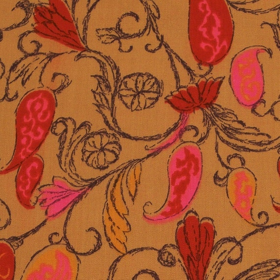Vintage 60s Fabric 2.5 yds Mod Paisley Hot Pink Dark Red Coffee Tangerine