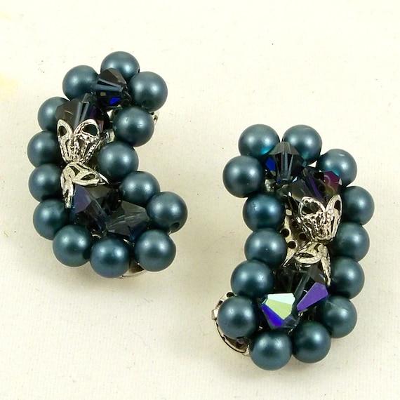 Vintage Mad Men Earrings Rare Kidney Bean Shaped Peacock Blue Clip Ons