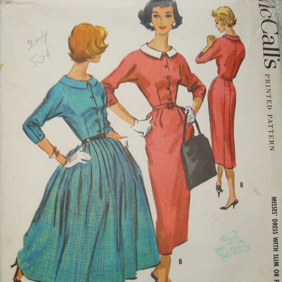 Vintage 1950s Dress Pattern McCalls 4179 Uncut Size 12 Bust 32